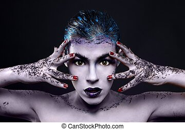 Creative Cosmetics on a Beautiful Woman