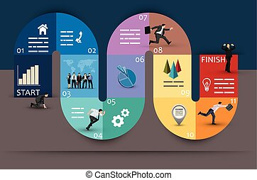 Creative Graphic Design of Conceptual Curvy Business Diagram, Emphasizing Phases or Stages, on Brown and Blue Green Background.