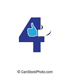 creative custom number four 4 logo vector design illustration