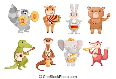 Creative cute animals playing music instruments