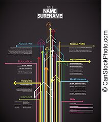 Creative cv template with colorful arrows on dark background.