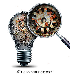 Creative decline and outdated and obsolete ideas concept as a lightbulb made of mechanical gears with a magnigying glass showing a closeup of rust and neglect as a business metaphor for losing competitivness and declining innovation.