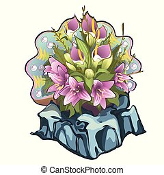 Creative decorated fresh flower bouquet of lilies and callas with seashell on the backdrop isolated on white background. Idea of landscape design and arrangement of the flower garden. Vector cartoon.
