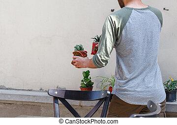 Creative decoration on cafe terrace
