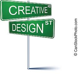 creative-design, 方向, 印。