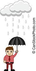 Creative Design Art of Young Cartoon Man Holding an Umbrella in Rain Vector Illustration