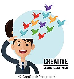 Creative design. Colorfull illustration. Cartoon icon