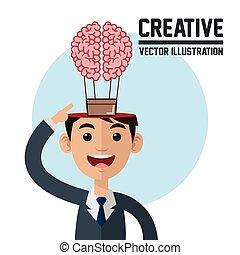 Creative design. Colorfull illustration. Cartoon icon