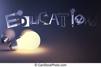 creative design hand drawn EDUCATION word and light bulb 3d as concept
