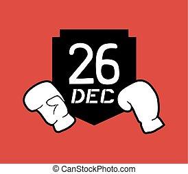 creative design of 26 dec boxing day icon