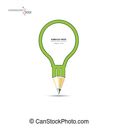 Creative design of a pencil in the form of a light bulb. Flat design, simple with space for text