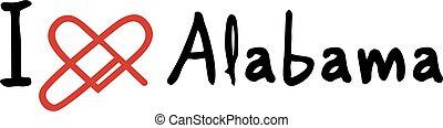 Creative design of Alabama love icon