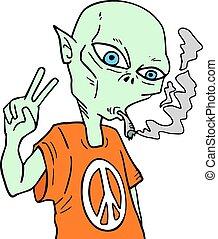 alien smoking with peace symbol