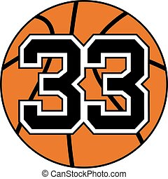 ball of basketball symbol with number 33 - creative design...