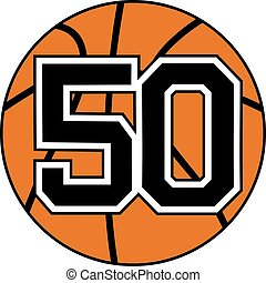 ball of basketball symbol with number 50 - creative design...