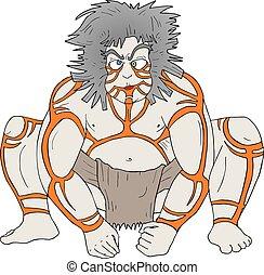 Creative design of barbarian primate man draw