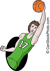 basket player with green shirt