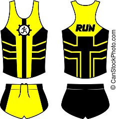 Creative design of black and yellow shirt of runner