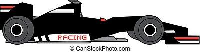 black racing car