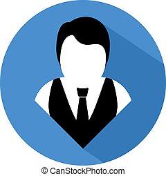 blue elegant man round icon