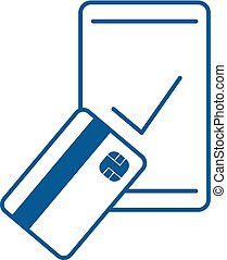 blue flat pay mobile icon
