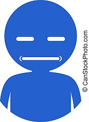 blue funny sour face icon
