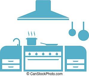 blue kitchen illustraiton - Creative design of blue kitchen...