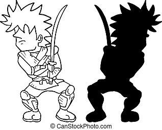 Boy warrior shadow