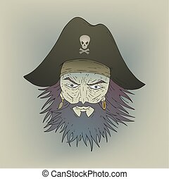 brave pirate head draw - Creative design of brave pirate...