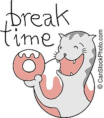 break time cat draw - Creative design of break time cat draw