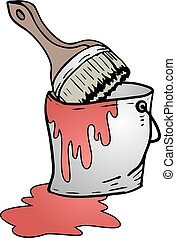 bucket of red paint