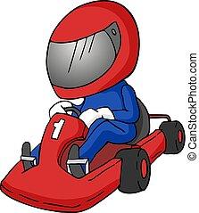 Cartoon karting illustrtion - Creative design of Cartoon...