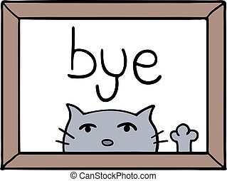 cat and bye message - Creative design of cat and bye message