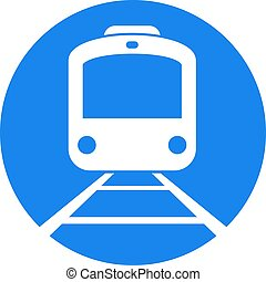 circle blue flat train icon