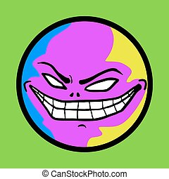 colorful crazy face - Creative design of colorful crazy face