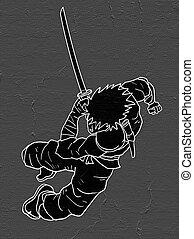 comic samurai attack