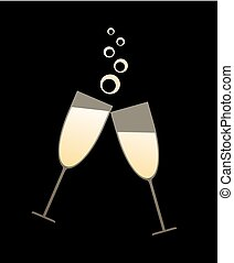 cool golden champagne toast illustration