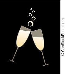 cool golden champagne toast illustration