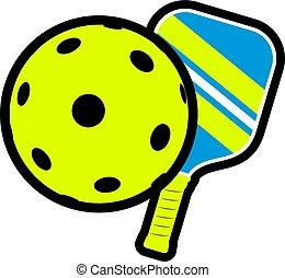 Creative design of cool pickleball sport illustration