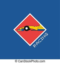 cool racing car symbol illustration