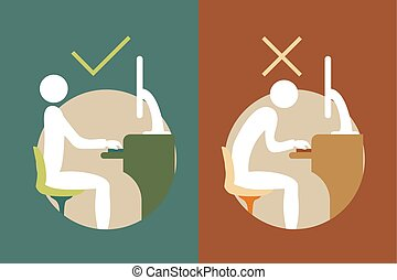 correct office back sitting symbols - Creative design of...
