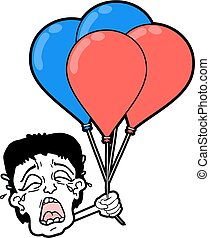 cry boy with balloons