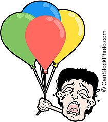 cry boy with color balloons