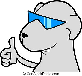 dog with blue glasses