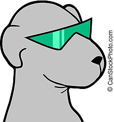 dog with green sunglasses