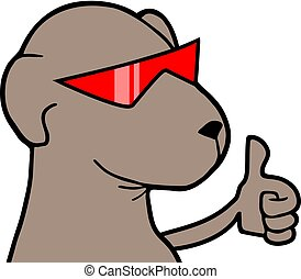 dog with red glasses