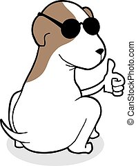 dog with sunglasses draw