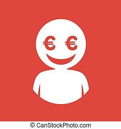dollar face flat icon draw