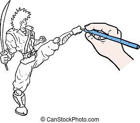 Draw fighter man