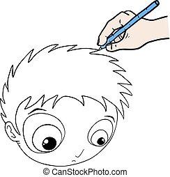Creative design of drawing big head